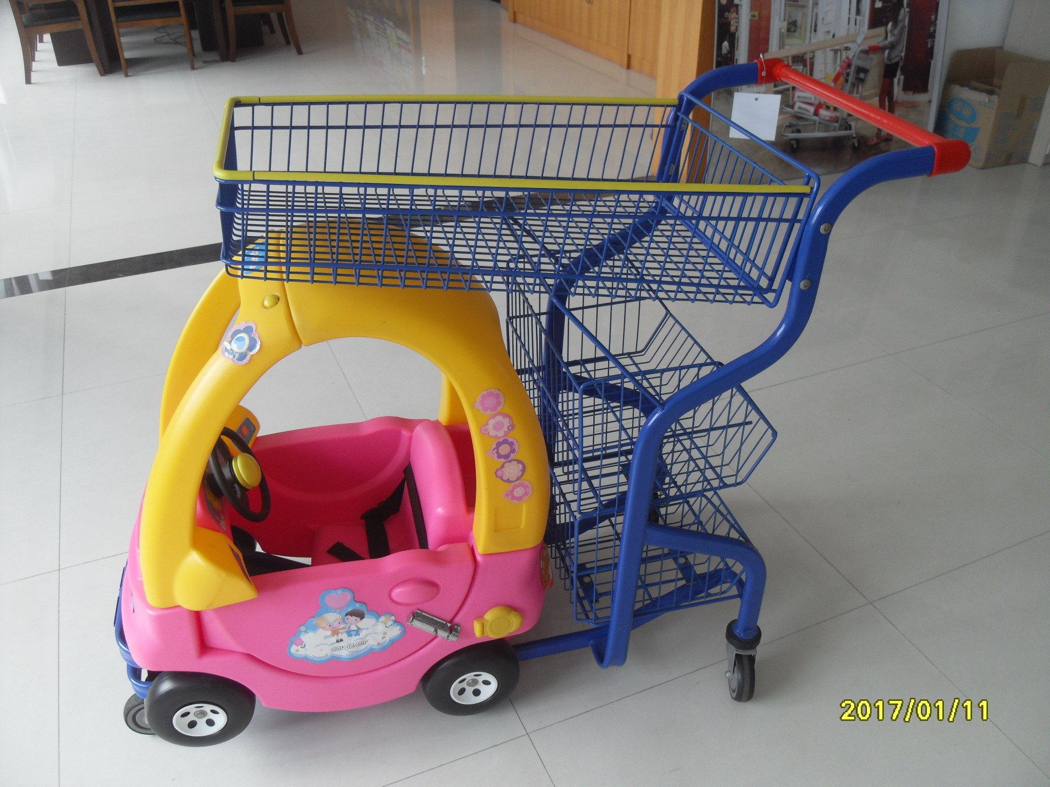 Supermarket Kids Shopping Carts , child size metal shopping cart 4 swivel flat TPE casters