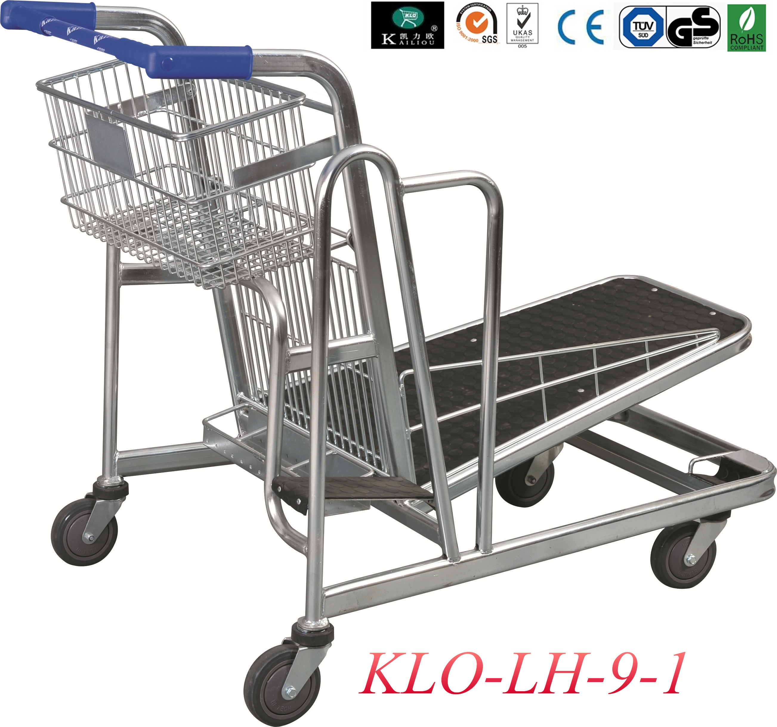 Heavy Duty Folding Warehouse Trolley With 4x5 Inch Swivel PU Wheel
