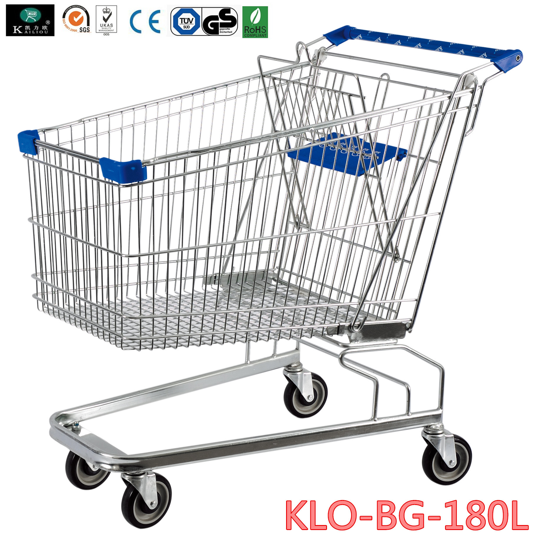 180 Liter Large Wire Mesh Supermarket Shopping Cart With Baby Seat
